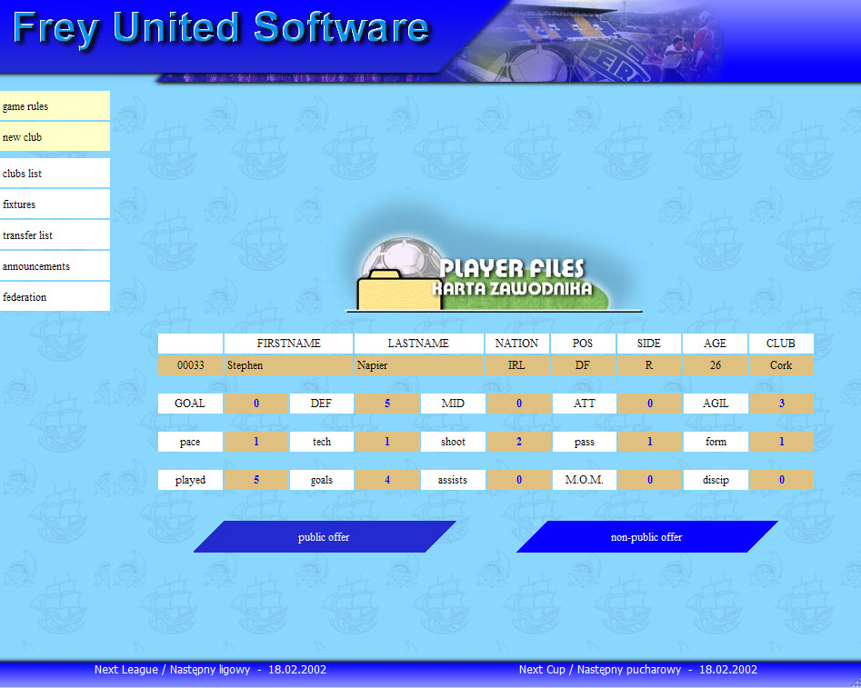 Football-o-Rama online soccer manager in 2002