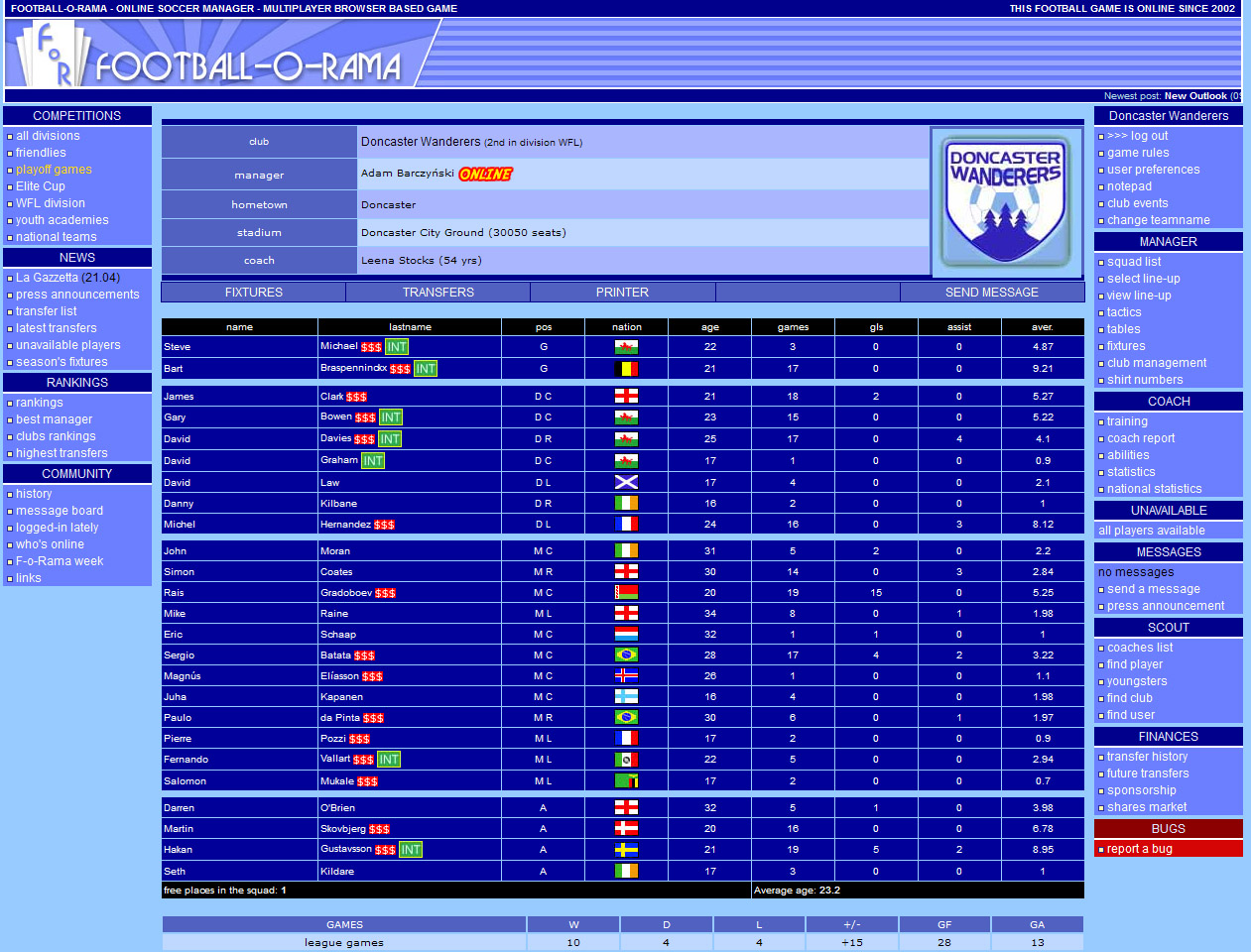 Football-o-Rama online soccer manager in 2006